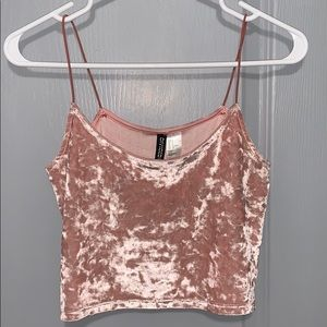 Baby pink crushed velvet strap crop top